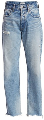 Moussy Lomita High-Rise Straight-Leg Distressed Jeans