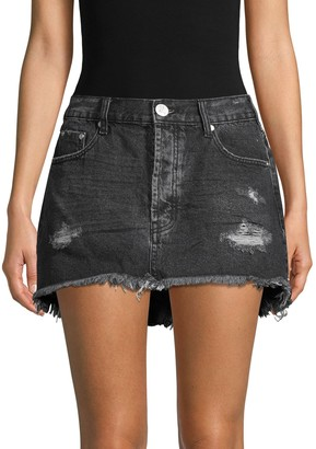 One Teaspoon Junkyard Fringed Denim Mini Skirt