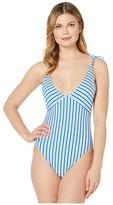 Polo Ralph Lauren Coastal Stripe Off-the-Shoulder Tie Splice Mio One-Piece (Cobalt) Women's Swimsuits One Piece