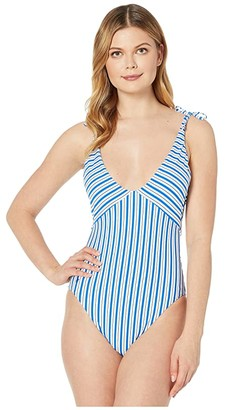 Polo Ralph Lauren Coastal Stripe Off-the-Shoulder Tie Splice Mio One-Piece