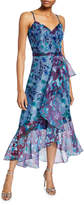 Marchesa Colorblock Floral Organza Sleeveless High-Low Side-Ruffle Gown