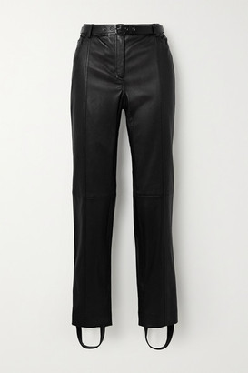 Tom Ford Belted Leather Straight-leg Stirrup Pants - Black