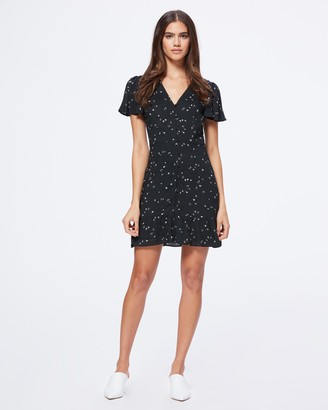 Paige Rosella Dress-Black/White- Falling Floral