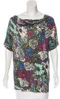 Lanvin Floral Print Cowl Neck T-Shirt