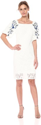 Taylor Dresses Women's Midi Dress with Embroidered lace Sleeves
