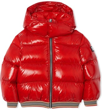 BURBERRY KIDS Icon Stripe Detail Down-filled Hooded Puffer Jacket