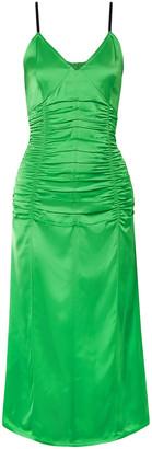 Helmut Lang Ruched Satin Midi Slip Dress