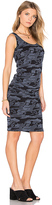 Monrow Bone Blue Camo Shirred Dress