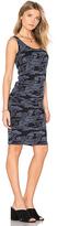 Monrow Bone Blue Camo Shirred Dress