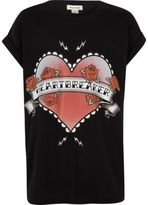 River Island Girls black heartbreaker print T-shirt