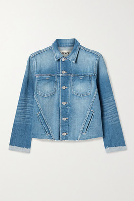 L'Agence Janelle Cropped Frayed Stretch-denim Jacket - Mid denim