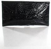 Rachel Zoe Black Patent Leather Crocodile Skin Print One Pocket Clutch Handbag