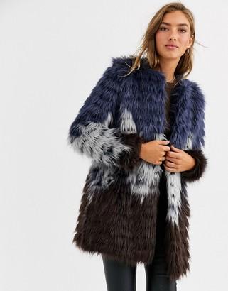 Urban Code Urbancode faux fur coat in tri colour