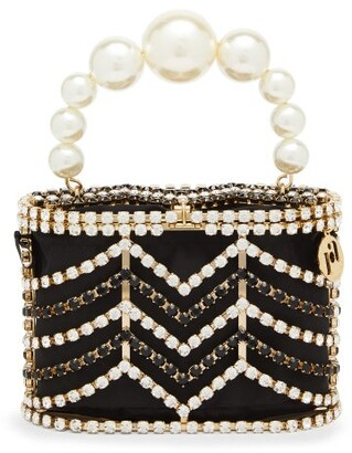 Rosantica Holli Chevron Crystal-embellished Caged Bag - Black And White