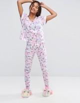 Asos Unicorn Print Tee & Legging Pajama Set