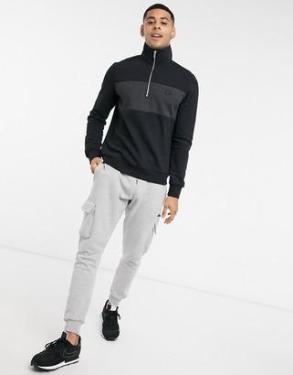 Burton Menswear half zip colourblock sweat in black