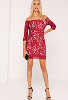 Missguided Lace Bardot Bodycon Dress Burgundy