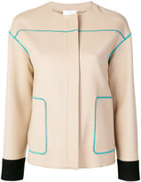 Agnona contrast stitch jacket - women - Polyamide/Wool - 40