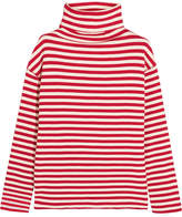Sjyp Embroidered Ribbed Striped Cotton-blend Turtleneck Sweater