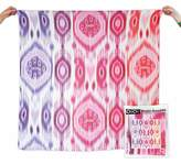 OiOi Girl Ikat Digitally Printed Muslin Swaddle Natural with Pink Multi-Design