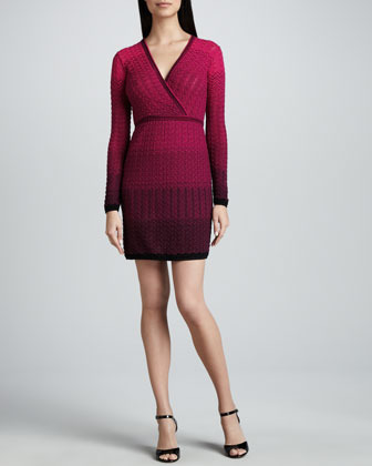 M Missoni Two-Tone Gradient Knit Surplice Dress