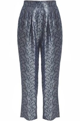 Gisy Metal Paisley Silk Jacquard Pants