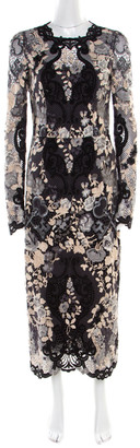 Dolce & Gabbana Multicolor Lurex Detail Embroidered Floral Lace Dress S