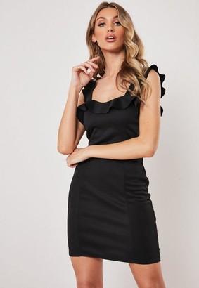 Missguided Black Scuba Frill Bodycon Mini Dress