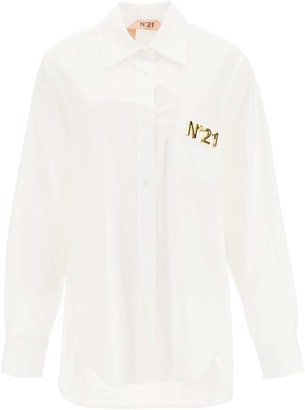 N°21 N.21 POPLIN SHIRT WITH NET INSERTS 42 White, Gold Cotton
