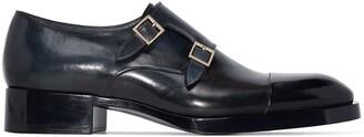Santoni Double-Strap Leather Monk Shoes