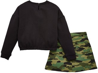 Very Girls Long Sleeve Jersey Top and Camo Skirt Set - Multi