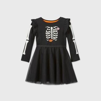 Cat & Jack Toddler Girls' Long Sleeve Skeleton Tulle Dress - Cat & JackTM