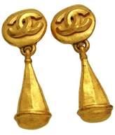 Chanel CC Logo Gold Tone Metal Drop Dangle Earrings