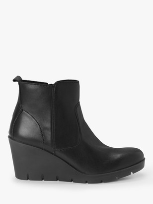 John Lewis & Partners Designed for Comfort Pania Leather Wedge Boots, Black