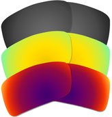 Dynamix 3 Pairs Polarized Lenses for Oakley Gascan Sunglasses Black Gold Fire Red (3B)
