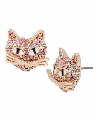 Betsey Johnson Women's Pave Cat Stud Earrings
