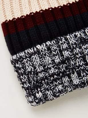 Very Colour Block Bobble Hat - Black/White/Cream