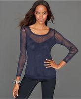 INC International Concepts Petite Top, Long-Sleeve Studded Sheer
