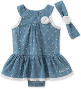 Calvin Klein 2-Pc. Floral-Print Denim Romper Dress & Headband Set, Baby Girls (0-24 Months)
