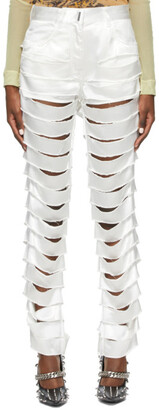 Givenchy Off-White Satin Ripped Trousers
