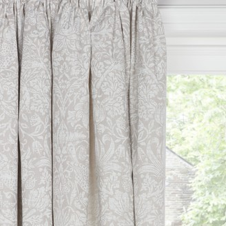 Morris & Co. Strawberry Thief Pure Pair Lined Pencil Pleat Curtains, Natural