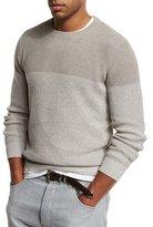 Brunello Cucinelli Colorblock Crewneck Sweater, Beige