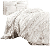 Lush Decor Belle 4-Piece Comforter Set, White, Queen, 4-Pc Set