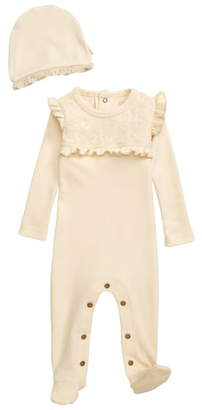 L'ovedbaby Organic Cotton Lace & Ruffle Footie & Hat Set