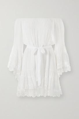 Melissa Odabash Alice Off-the-shoulder Lace And Crochet-trimmed Swiss-dot Chiffon Mini Dress