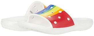 Crocs Classic Rainbow Stripe Slide (Rainbow) Shoes
