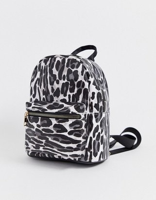 Yoki Fashion leopard print backpack with pocket detail-Multi