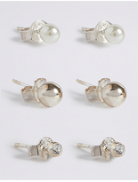 M&S Collection 3 Pack Sterling Silver Stud Earrings Set