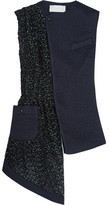 Esteban Cortazar Asymmetric Silk-cloqué And Basketweave Vest - Midnight blue