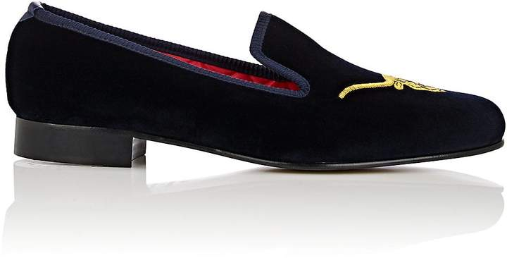 Crockett Jones Crockett & Jones Men's Bull-Embroidered Velvet Venetian Slippers